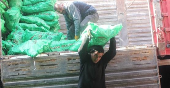 Ağrı'da kömür boşaltan işçilerin ekmek mücadelesi