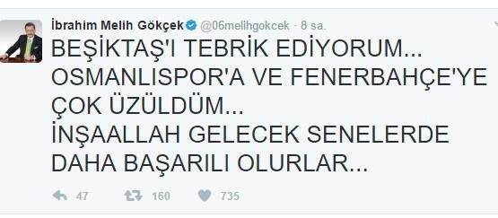 Başkan Gökçek, Beşiktaş'ı kutladı