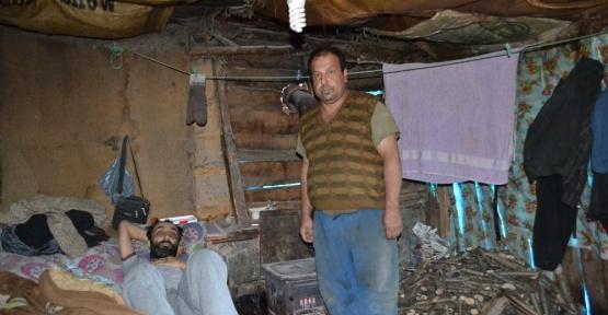 İki kardeşin harabe evde yaşam mücadelesi