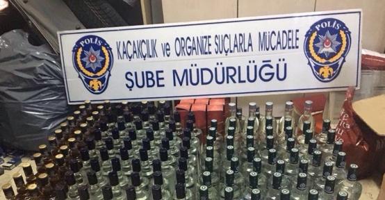 Rize'de 277 şişe bandrolsüz içki ele geçirildi