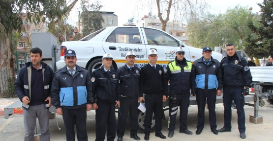 Samandağ'da trafik güvenliği çalışması