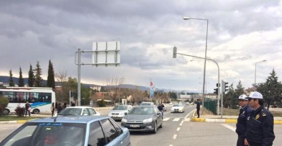 Adıyaman Atatürk Bulvarında trafik akışı sağlandı
