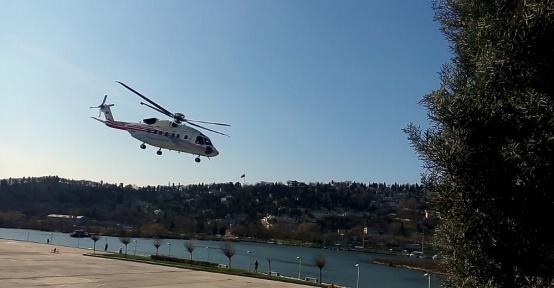 Cumhurbaşkanı Erdoğan, yoğun güvenlik önlemleri altında helikopterle Tekirdağ'a gitti