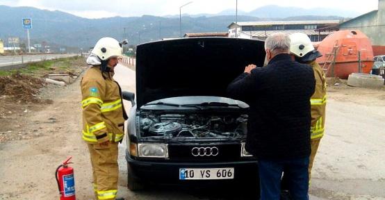 Havran'da benzin hortumundan araç yandı