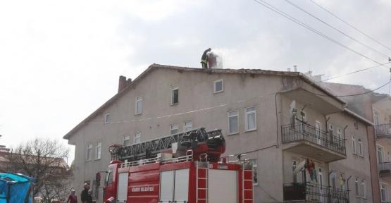 Hisarcık'ta baca yangını korkuttu