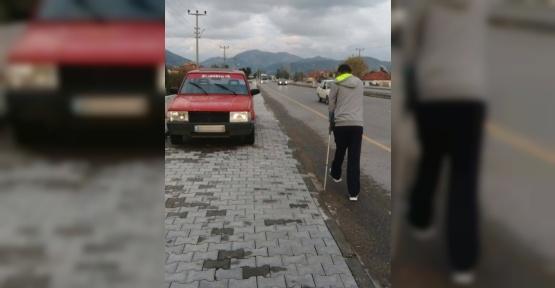 Ortaca'da kaldırıma araç parkı tepkisi