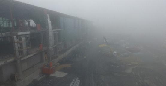(Özel) 3. Havalimanı çalışmaları yoğun sise rağmen devam etti