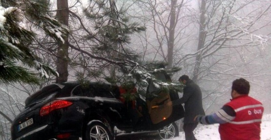 (ÖZEL HABER) Karda kayan jeep ağaca çarparak uçuruma yuvarlanmaktan kurtuldu