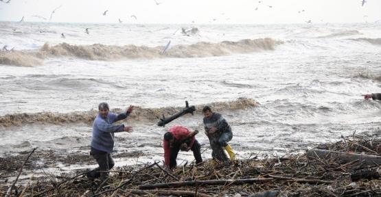 Sel önünden kütük kapma yarışı