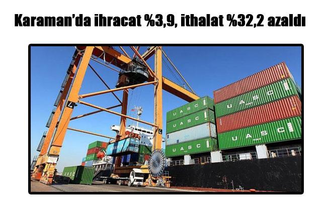 Karaman'da ihracat %3,9, ithalat %32,2 azaldı