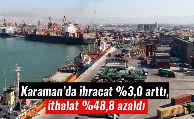 Karaman'da ihracat %3,0 arttı, ithalat %48,8 azaldı