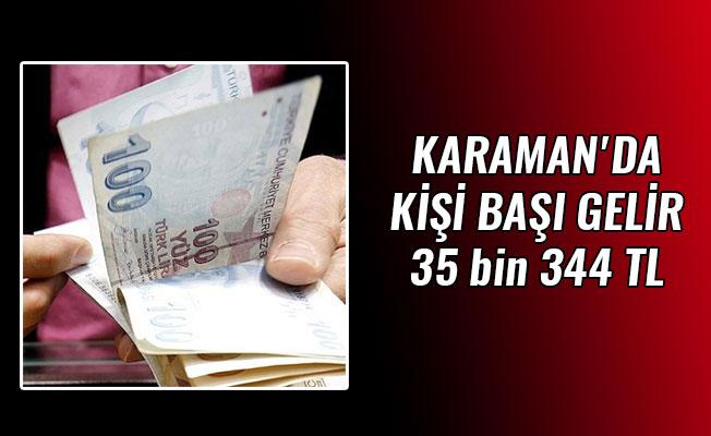 KARAMAN'DA KİŞİ BAŞI GELİR 35 bin 344 TL