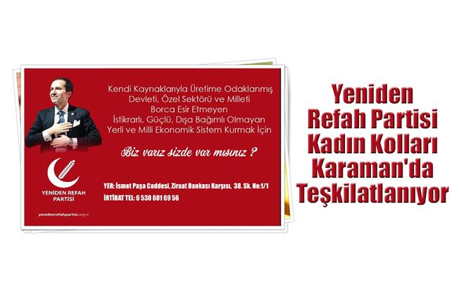 Yeniden Refah Partisi Kadın Kolları Karaman'da Teşkilatlanıyor