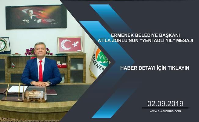 """ERMENEK BELEDİYE BAŞKANI ATİLA ZORLU'NUN """"YENİ ADLİ YIL"""" MESAJI"""