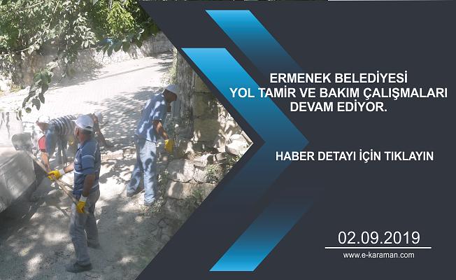 Ermenek Belediyesi yol tamir ve bakım çalışmaları devam ediyor