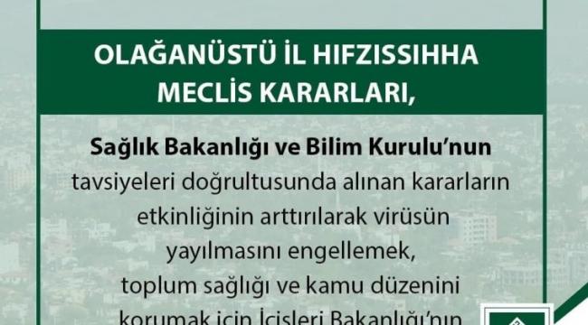 OLAĞANÜSTÜ İL HIFZISSIHHA MECLİS KARARLARI