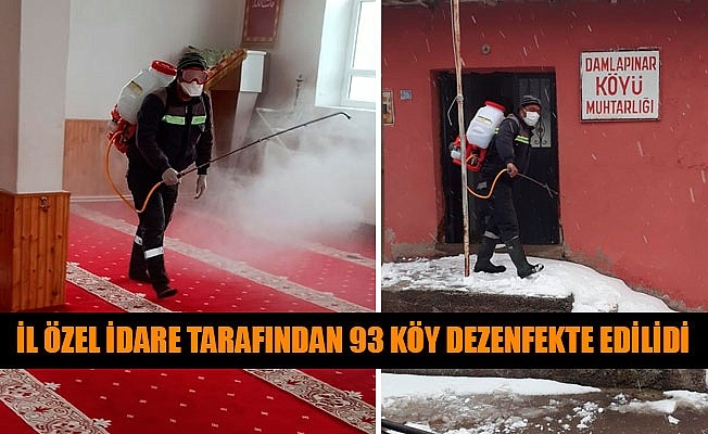 İL ÖZEL İDARE TARAFINDAN 93 KÖY DEZENFEKTE EDİLİDİ