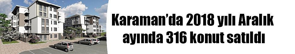 Karaman'da 2018 yılı Aralık ayında 316 konut satıldı