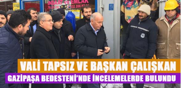 Karaman Valisi Tapsız ve Başkan Çalışkan, bedesten de inceleme yaptı