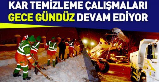 Konya'da Kar Temizleme Çalışmaları Gece Gündüz Sürüyor