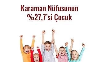 Karaman Nüfusunun %27,7'si Çocuk