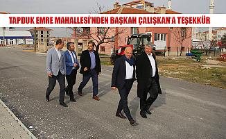 TAPDUK EMRE MAHALLESİ'NDEN BAŞKAN ÇALIŞKAN'A TEŞEKKÜR