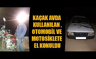 KAÇAK AVDA KULLANILAN OTOMOBİL VE MOTOSİKLETE EL KONULDU