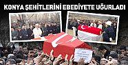 Konya'da  Şehitler dualarla defnedildi