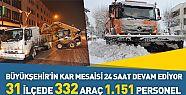 Konya'da belediye gece gündüz kar mesaisinde
